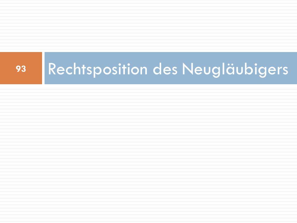 Rechtsposition des Neugläubigers 93