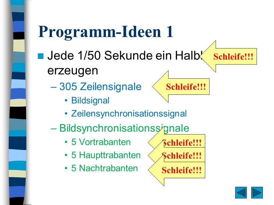 Programm-Ideen 1 Jede 1/50 Sekunde ein Halbbild erzeugen –305 Zeilensignale Bildsignal Zeilensynchronisationssignal –Bildsynchronisationssignale 5 Vor