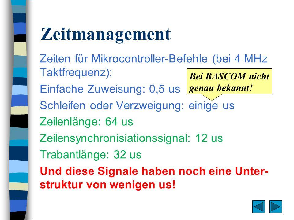 Zeitmanagement Zeiten für Mikrocontroller-Befehle (bei 4 MHz Taktfrequenz): Einfache Zuweisung: 0,5 us Schleifen oder Verzweigung: einige us Zeilenlän