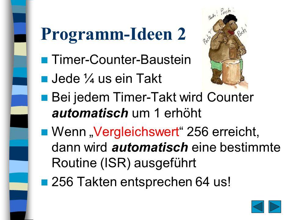 Programm-Ideen 2 Timer-Counter-Baustein Jede ¼ us ein Takt Bei jedem Timer-Takt wird Counter automatisch um 1 erhöht Wenn Vergleichswert 256 erreicht,