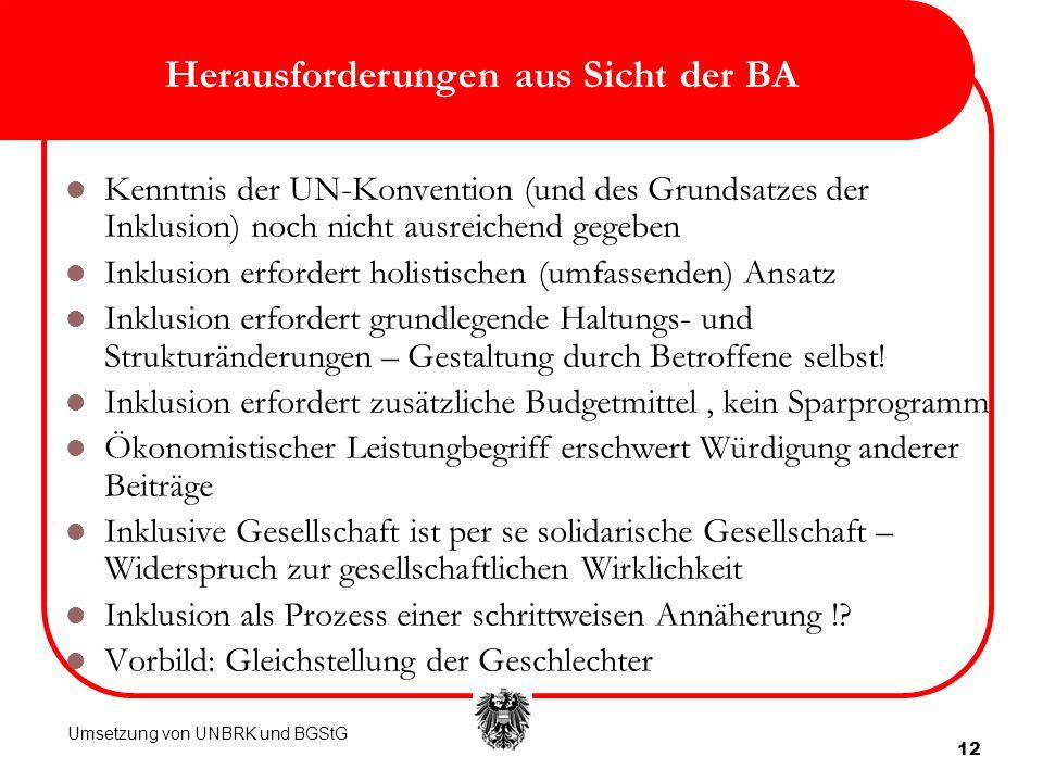 12 Herausforderungen aus Sicht der BA Kenntnis der UN-Konvention (und des Grundsatzes der Inklusion) noch nicht ausreichend gegeben Inklusion erforder