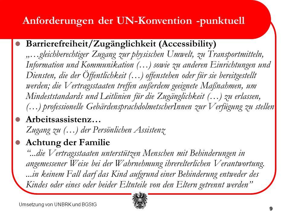 9 Anforderungen der UN-Konvention -punktuell Barrierefreiheit/Zugänglichkeit (Accessibility) …gleichberechtiger Zugang zur physischen Umwelt, zu Trans