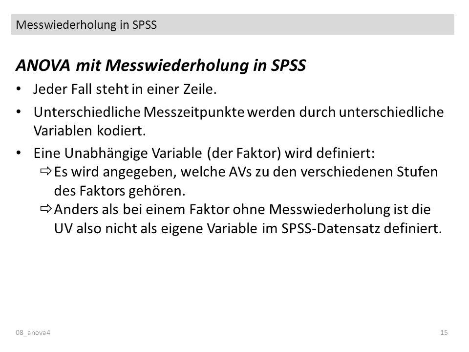 Messwiederholung in SPSS ANOVA mit Messwiederholung in SPSS Jeder Fall steht in einer Zeile. Unterschiedliche Messzeitpunkte werden durch unterschiedl