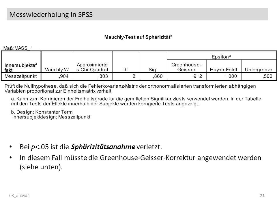 Messwiederholung in SPSS 08_anova421 Bei p<.05 ist die Sphärizitätsanahme verletzt. In diesem Fall müsste die Greenhouse-Geisser-Korrektur angewendet