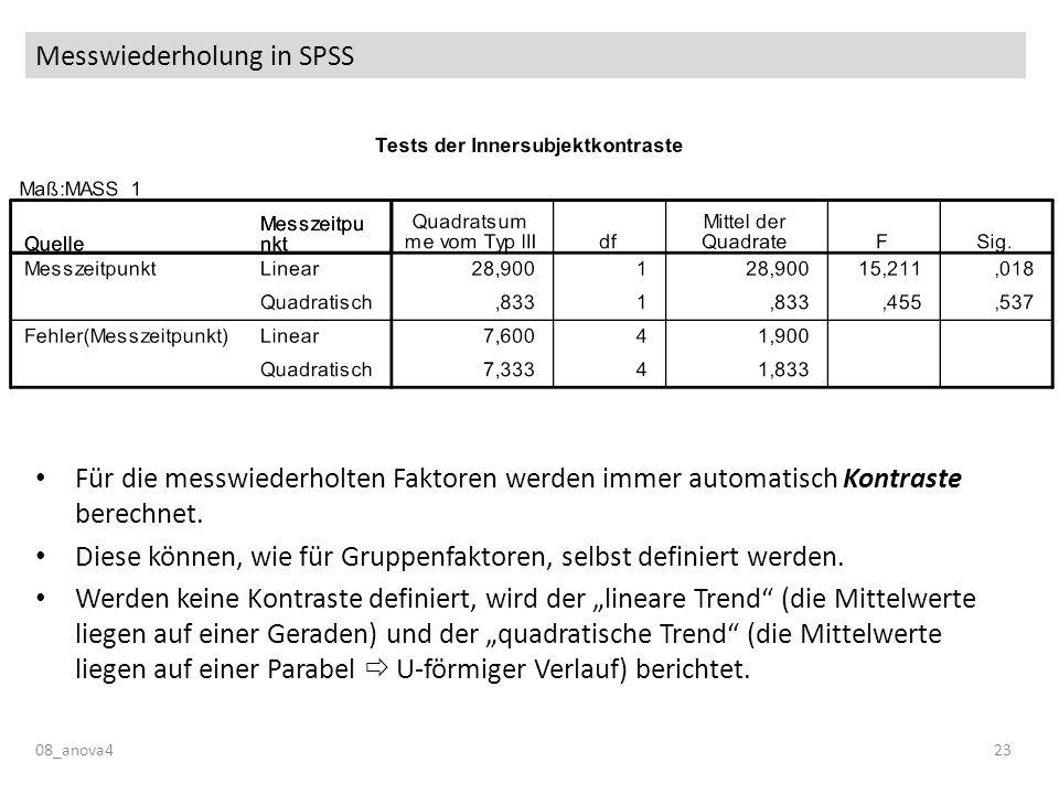 Messwiederholung in SPSS 08_anova423 Für die messwiederholten Faktoren werden immer automatisch Kontraste berechnet. Diese können, wie für Gruppenfakt