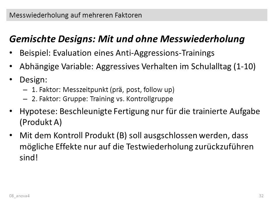 Messwiederholung auf mehreren Faktoren 08_anova432 Gemischte Designs: Mit und ohne Messwiederholung Beispiel: Evaluation eines Anti-Aggressions-Traini