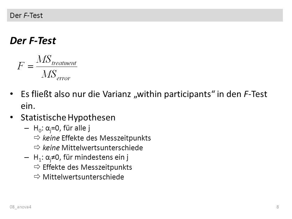 Der F-Test 08_anova48 Der F-Test Es fließt also nur die Varianz within participants in den F-Test ein. Statistische Hypothesen – H 0 : α j =0, für all
