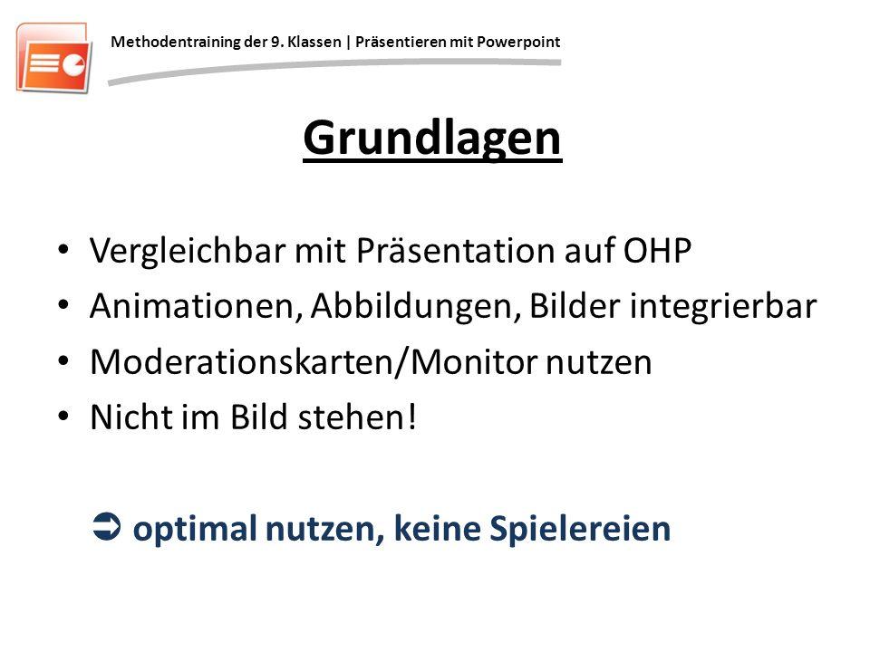 Grundlagen Vergleichbar mit Präsentation auf OHP Animationen, Abbildungen, Bilder integrierbar Moderationskarten/Monitor nutzen Nicht im Bild stehen!
