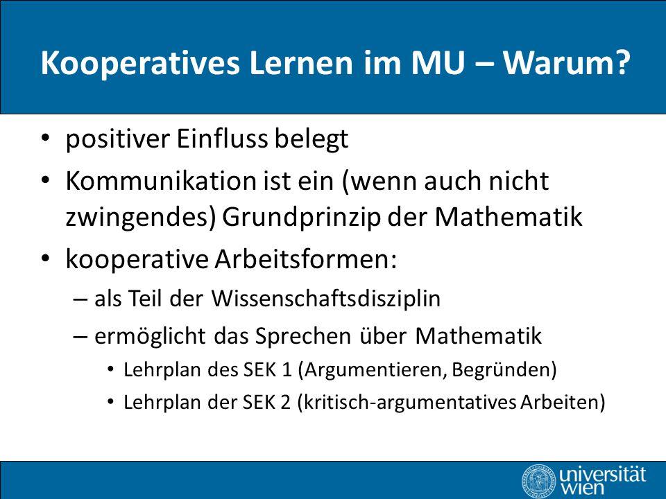 Kooperatives Lernen im MU – Warum.