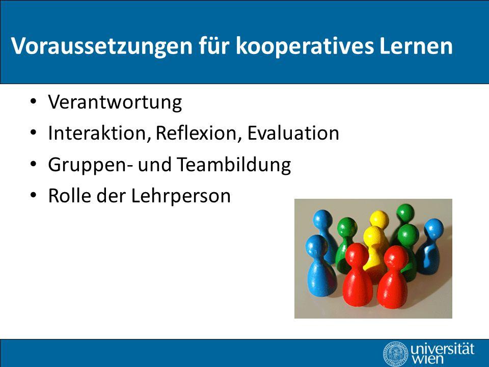 Verantwortung Interaktion, Reflexion, Evaluation Gruppen- und Teambildung Rolle der Lehrperson Voraussetzungen für kooperatives Lernen