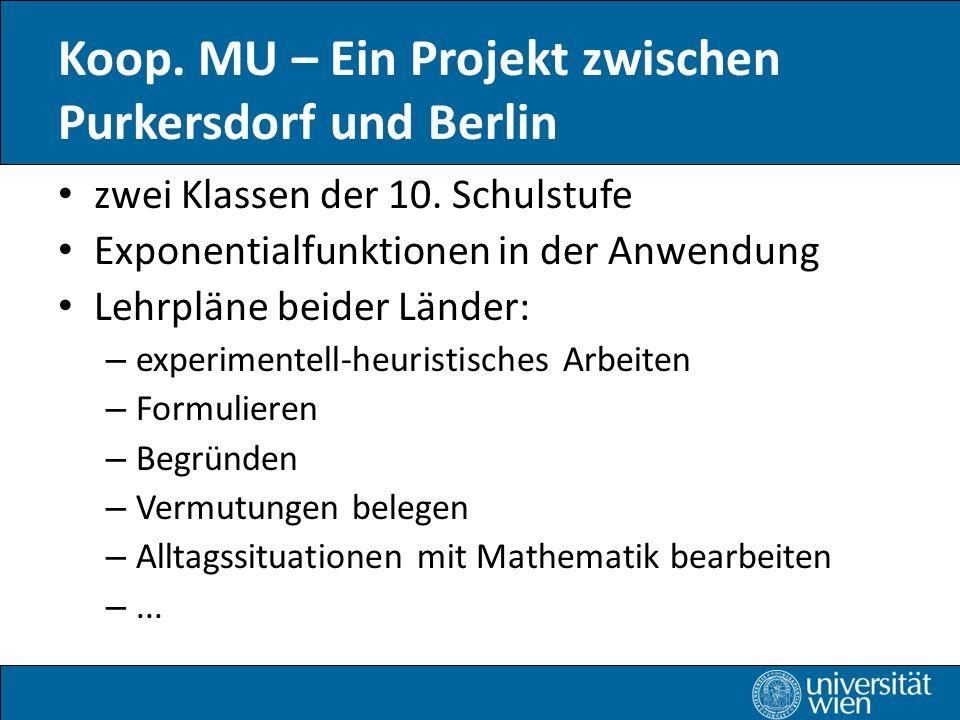 Koop.MU – Ein Projekt zwischen Purkersdorf und Berlin zwei Klassen der 10.