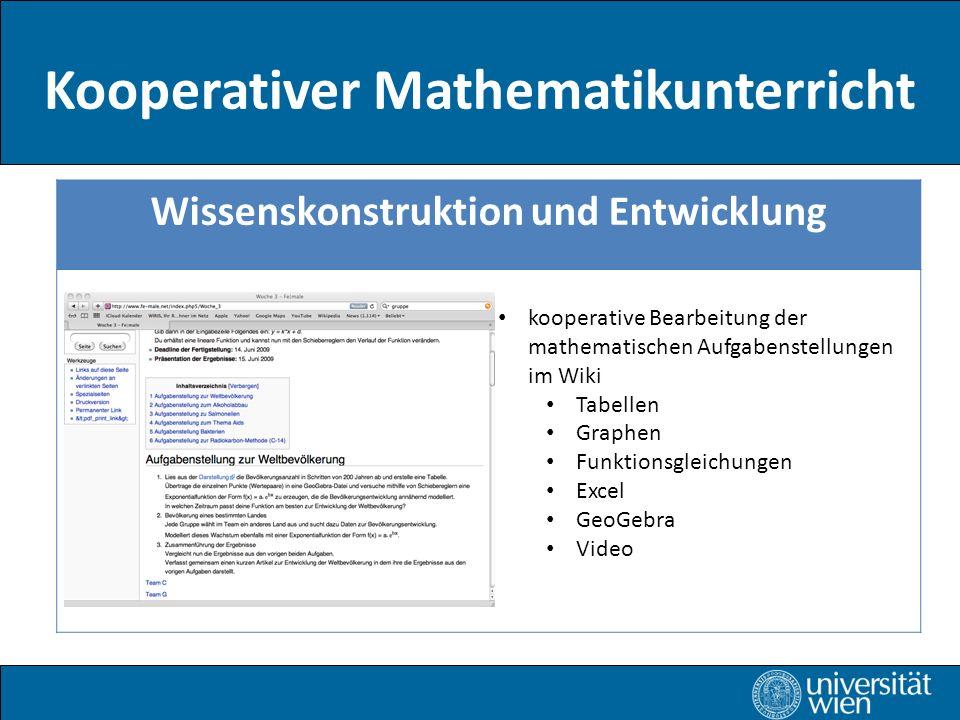 Kooperativer Mathematikunterricht Wissenskonstruktion und Entwicklung kooperative Bearbeitung der mathematischen Aufgabenstellungen im Wiki Tabellen Graphen Funktionsgleichungen Excel GeoGebra Video