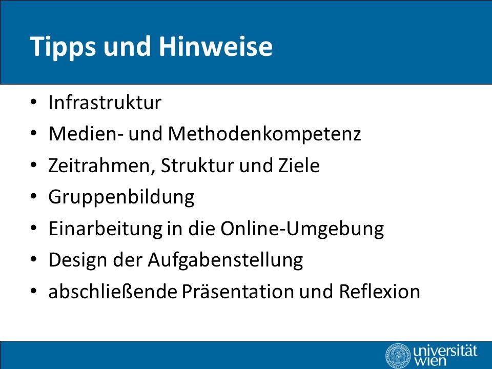 Tipps und Hinweise Infrastruktur Medien- und Methodenkompetenz Zeitrahmen, Struktur und Ziele Gruppenbildung Einarbeitung in die Online-Umgebung Design der Aufgabenstellung abschließende Präsentation und Reflexion