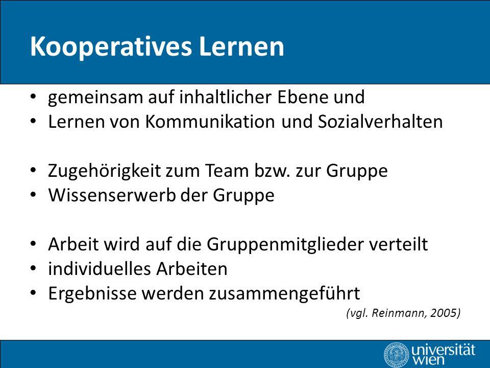Kooperatives Lernen gemeinsam auf inhaltlicher Ebene und Lernen von Kommunikation und Sozialverhalten Zugehörigkeit zum Team bzw.