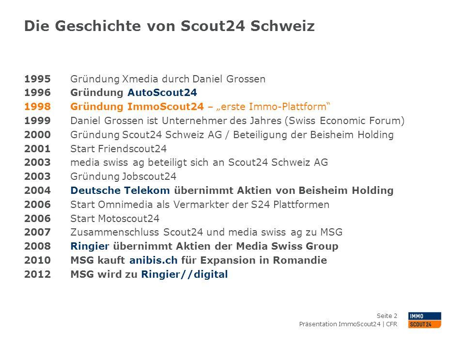 Die Geschichte von Scout24 Schweiz Präsentation ImmoScout24 | CFR Seite 2 1995 Gründung Xmedia durch Daniel Grossen 1996 Gründung AutoScout24 1998 Grü