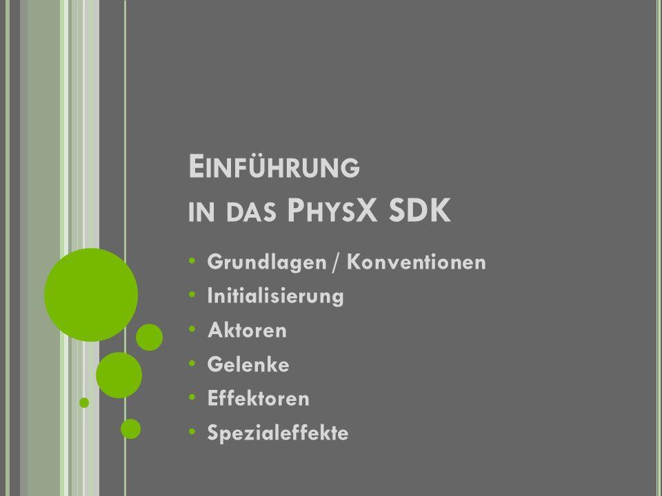 I NTERESSANTES ÜBER P HYS X 2002 Gründung von Ageia als StartUp Entwicklung und Veröffentlichung von PhysX (vormals NovodeX) im Mai 2006 PhysX besteht aus zwei Komponenten (SDK und einer Zusatzkarte) Zeitgleich entwickelt Havok zusammen mit NVIDIA Havok FX; eine Physik-Engine die die Physikberechnung auf die Grafikkarte holt
