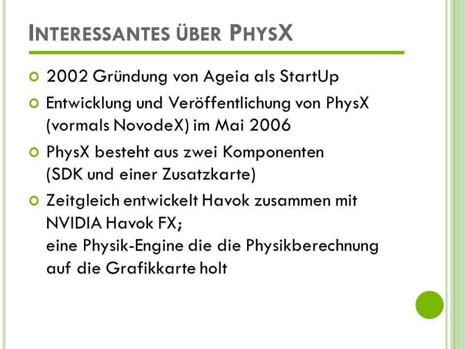 I NTERESSANTES ÜBER P HYS X September 2007: Intel kauft Havok Havok FX wird eingestellt, da Intels Grafikkarten zu schwach sind.