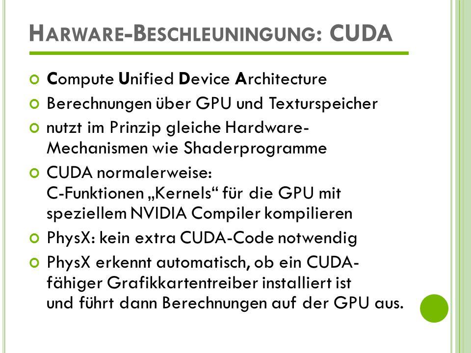 H ARWARE -B ESCHLEUNINGUNG : CUDA Aktuelle Leistungsdaten (theoretisch): NVIDIA GeForce GTX 285:1,06 TFLOP AMD HD 4870 (RV770) X2:2,4 TFLOP Core 2 Quad bei 3 Ghz:96 GFLOPS Mehr Infos zu Cuda hierhier