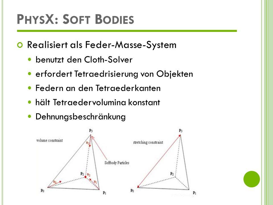 P HYS X: C LOTH (T EXTILIEN ) Parameter Biegesteifigkeit, Zugsteifigkeit Dichte, Dicke Dämpfung, Reibung externe Kräfte (Wind, Schwerkraft) zulässige Dehnungs- und Biegegrenzen Massepunkte lassen sich an Festkörperpunkte/Shapes binden Realisiert als Feder-Masse-System Selbst-Kollision Kollision mit festen Körpern