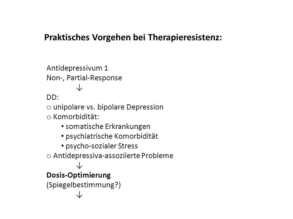 Antidepressivum 1 Non-, Partial-Response DD: o unipolare vs. bipolare Depression o Komorbidität: somatische Erkrankungen psychiatrische Komorbidität p
