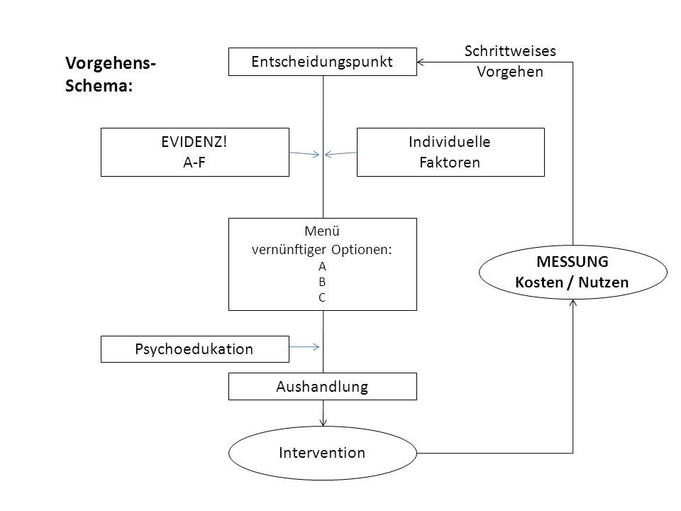 Individuelle Faktoren Menü vernünftiger Optionen: A B C Entscheidungspunkt EVIDENZ! A-F Psychoedukation Aushandlung Intervention MESSUNG Kosten / Nutz