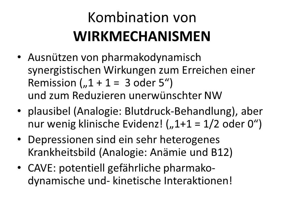 Kombination von WIRKMECHANISMEN Ausnützen von pharmakodynamisch synergistischen Wirkungen zum Erreichen einer Remission (1 + 1 = 3 oder 5) und zum Red
