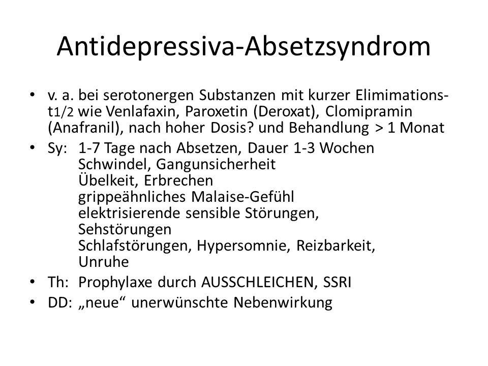 Antidepressiva-Absetzsyndrom v. a. bei serotonergen Substanzen mit kurzer Elimimations- t 1/2 wie Venlafaxin, Paroxetin (Deroxat), Clomipramin (Anafra