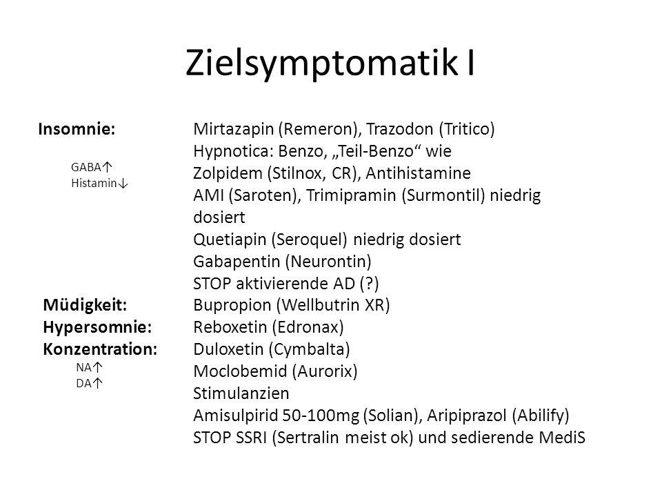 Zielsymptomatik I Insomnie: GABA Histamin Mirtazapin (Remeron), Trazodon (Tritico) Hypnotica: Benzo, Teil-Benzo wie Zolpidem (Stilnox, CR), Antihistam