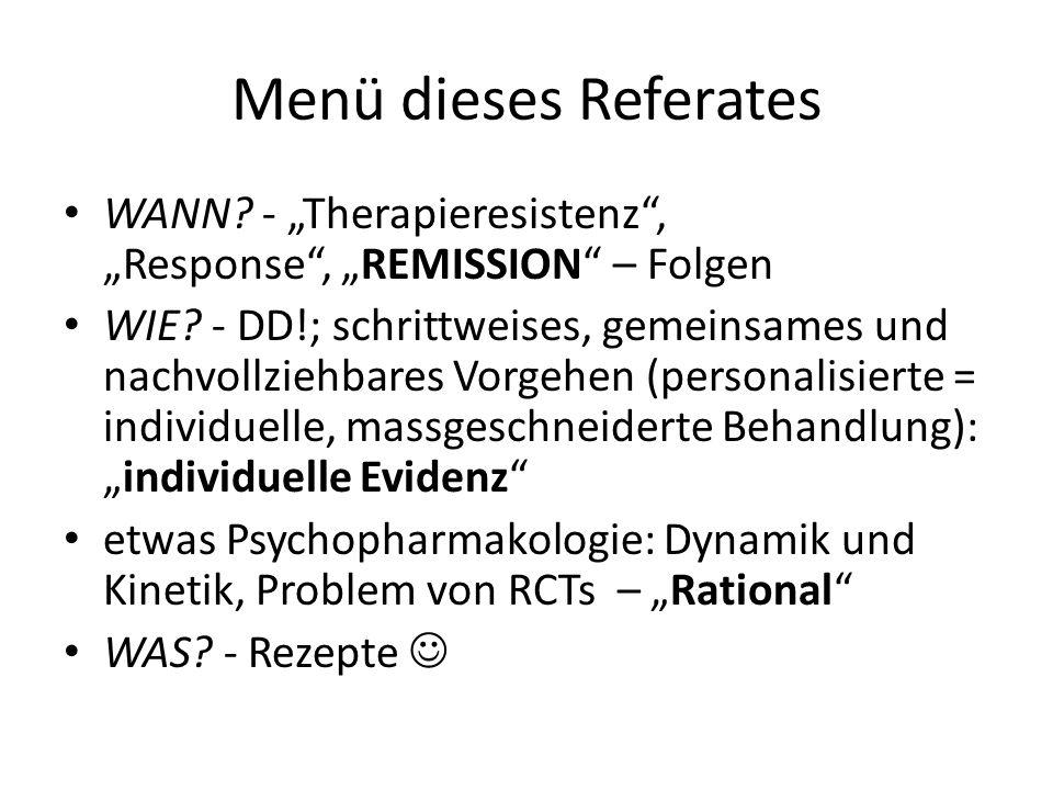 Menü dieses Referates WANN? - Therapieresistenz, Response, REMISSION – Folgen WIE? - DD!; schrittweises, gemeinsames und nachvollziehbares Vorgehen (p