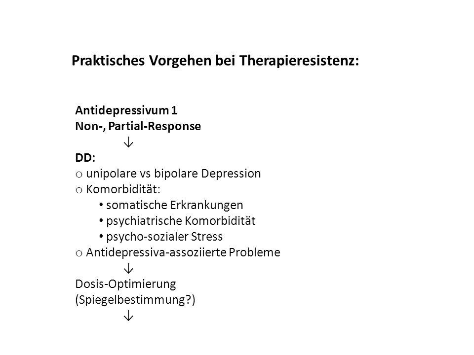 Antidepressivum 1 Non-, Partial-Response DD: o unipolare vs bipolare Depression o Komorbidität: somatische Erkrankungen psychiatrische Komorbidität ps