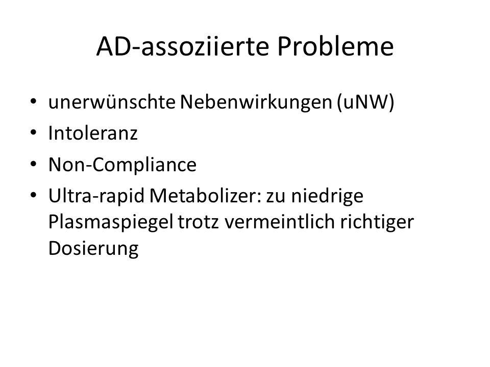 AD-assoziierte Probleme unerwünschte Nebenwirkungen (uNW) Intoleranz Non-Compliance Ultra-rapid Metabolizer: zu niedrige Plasmaspiegel trotz vermeintl