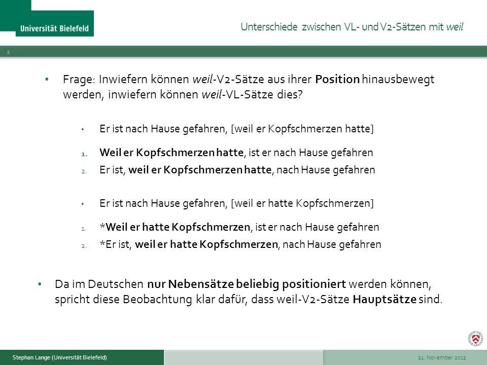 21.November 2012 16 Stephan Lange (Universität Bielefeld) 2.