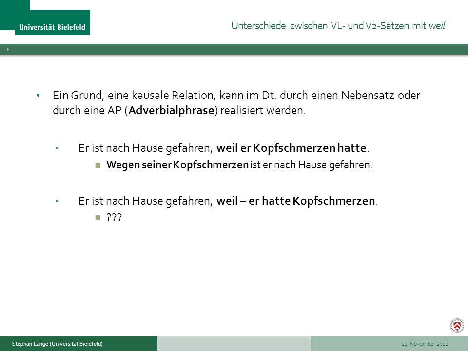 21.November 2012 17 Stephan Lange (Universität Bielefeld) Die Konstruktion ist ökonomischer.