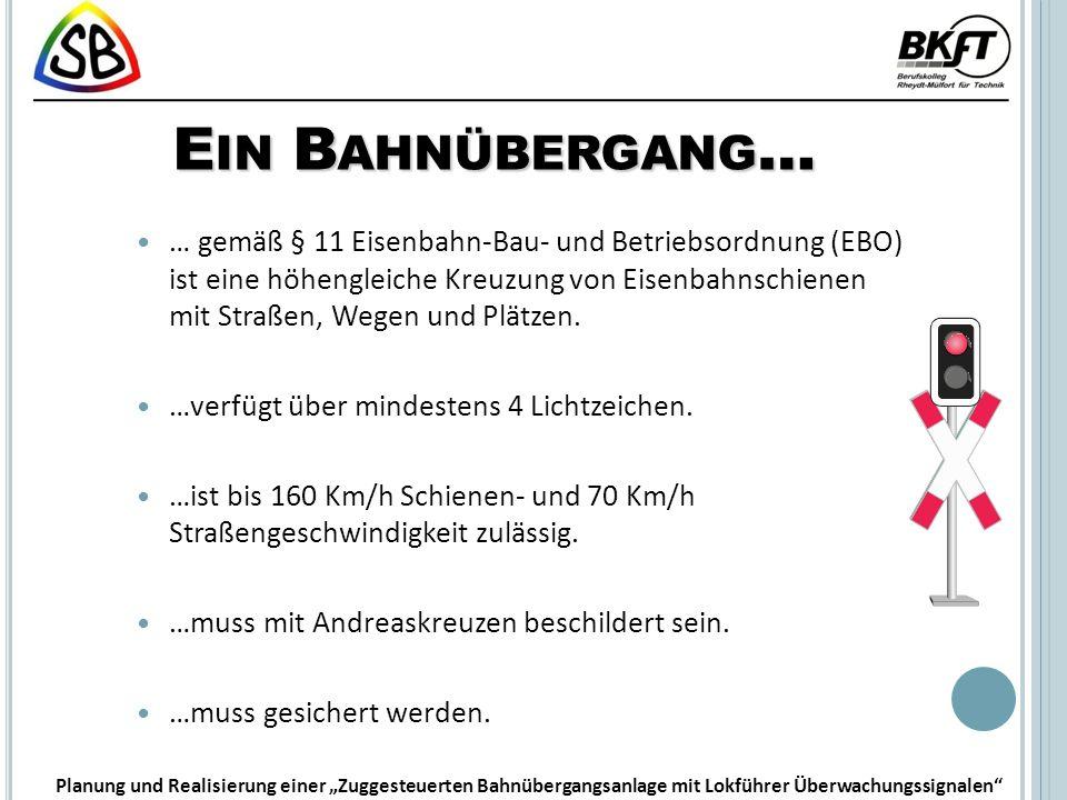 E IN B AHNÜBERGANG … … gemäß § 11 Eisenbahn-Bau- und Betriebsordnung (EBO) ist eine höhengleiche Kreuzung von Eisenbahnschienen mit Straßen, Wegen und Plätzen.