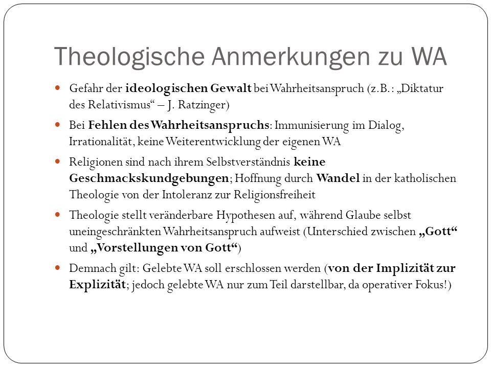Theologische Anmerkungen zu WA Gefahr der ideologischen Gewalt bei Wahrheitsanspruch (z.B.: Diktatur des Relativismus – J. Ratzinger) Bei Fehlen des W
