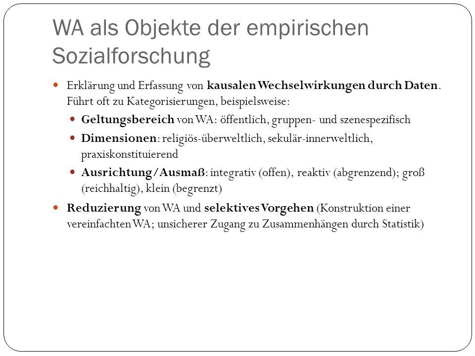 WA als Objekte der empirischen Sozialforschung Erklärung und Erfassung von kausalen Wechselwirkungen durch Daten. Führt oft zu Kategorisierungen, beis
