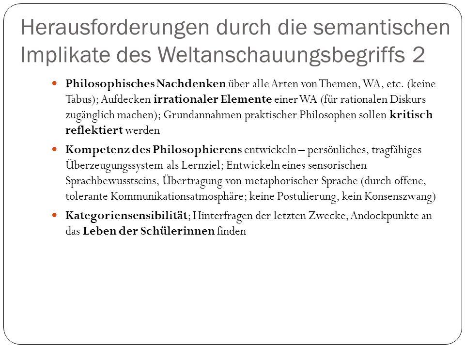 Herausforderungen durch die semantischen Implikate des Weltanschauungsbegriffs 2 Philosophisches Nachdenken über alle Arten von Themen, WA, etc. (kein