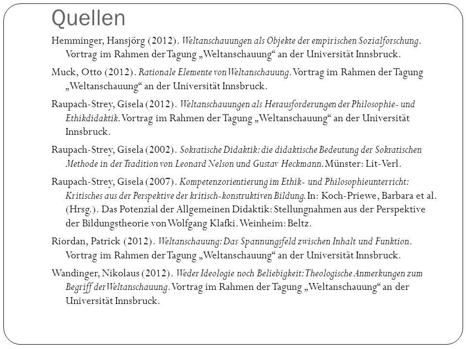 Quellen Hemminger, Hansjörg (2012). Weltanschauungen als Objekte der empirischen Sozialforschung. Vortrag im Rahmen der Tagung Weltanschauung an der U