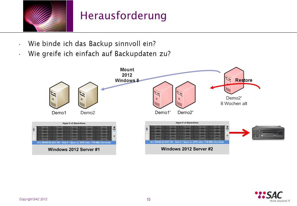 Copyright SAC 2012 Herausforderung 10 Wie binde ich das Backup sinnvoll ein.