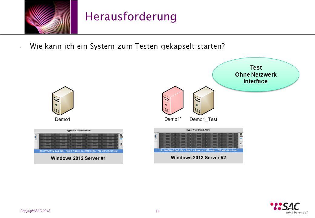 Copyright SAC 2012 Herausforderung 11 Wie kann ich ein System zum Testen gekapselt starten.