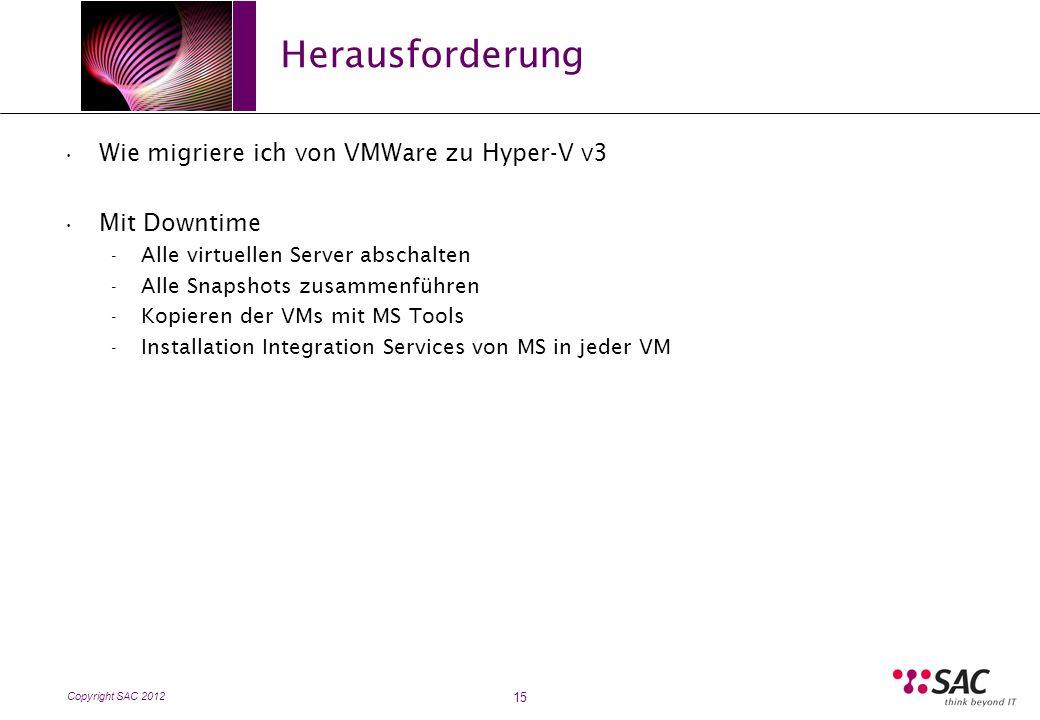 Copyright SAC 2012 Herausforderung 15 Wie migriere ich von VMWare zu Hyper-V v3 Mit Downtime - Alle virtuellen Server abschalten - Alle Snapshots zusammenführen - Kopieren der VMs mit MS Tools - Installation Integration Services von MS in jeder VM