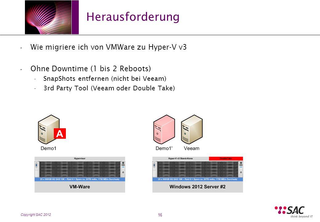 Copyright SAC 2012 Herausforderung 16 Wie migriere ich von VMWare zu Hyper-V v3 Ohne Downtime (1 bis 2 Reboots) - SnapShots entfernen (nicht bei Veeam) - 3rd Party Tool (Veeam oder Double Take) A