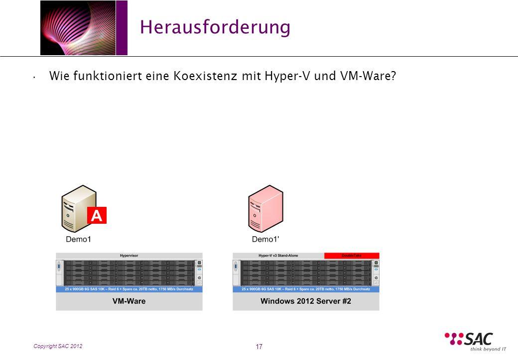Copyright SAC 2012 Herausforderung 17 Wie funktioniert eine Koexistenz mit Hyper-V und VM-Ware A