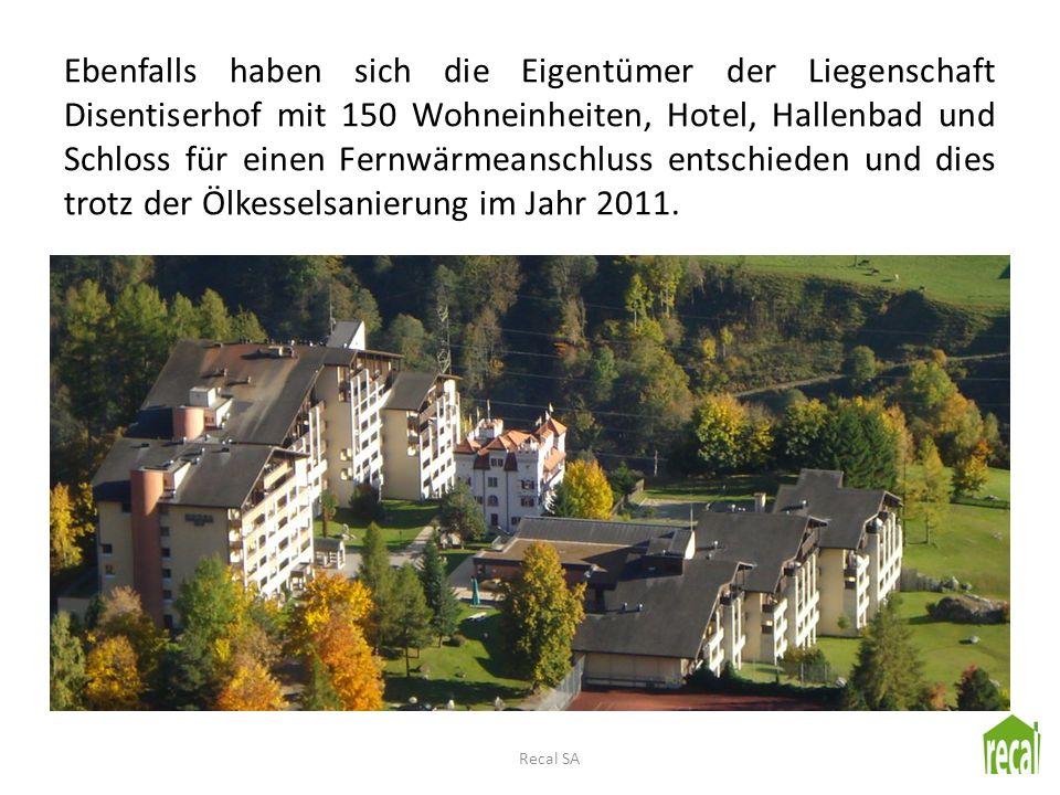 Ebenfalls haben sich die Eigentümer der Liegenschaft Disentiserhof mit 150 Wohneinheiten, Hotel, Hallenbad und Schloss für einen Fernwärmeanschluss en