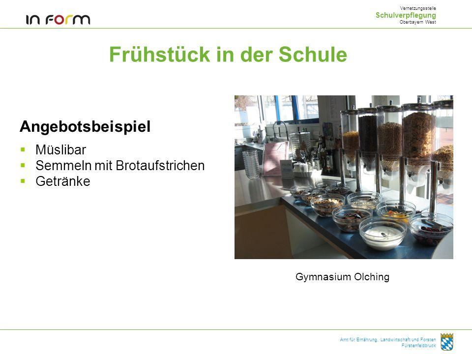 Amt für Ernährung, Landwirtschaft und Forsten Fürstenfeldbruck Frühstück in der Schule Angebotsbeispiel Müslibar Semmeln mit Brotaufstrichen Getränke