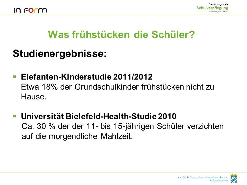 Amt für Ernährung, Landwirtschaft und Forsten Fürstenfeldbruck Was frühstücken die Schüler? Studienergebnisse: Elefanten-Kinderstudie 2011/2012 Etwa 1