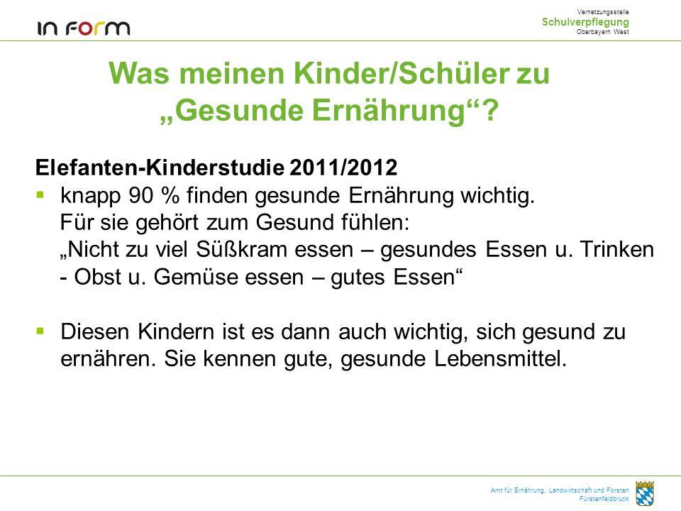 Amt für Ernährung, Landwirtschaft und Forsten Fürstenfeldbruck Was meinen Kinder/Schüler zu Gesunde Ernährung? Elefanten-Kinderstudie 2011/2012 knapp