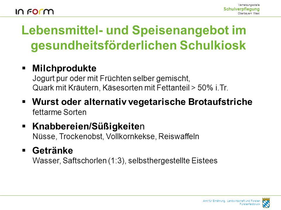 Lebensmittel- und Speisenangebot im gesundheitsförderlichen Schulkiosk Vernetzungsstelle Schulverpflegung Oberbayern West Amt für Ernährung, Landwirts