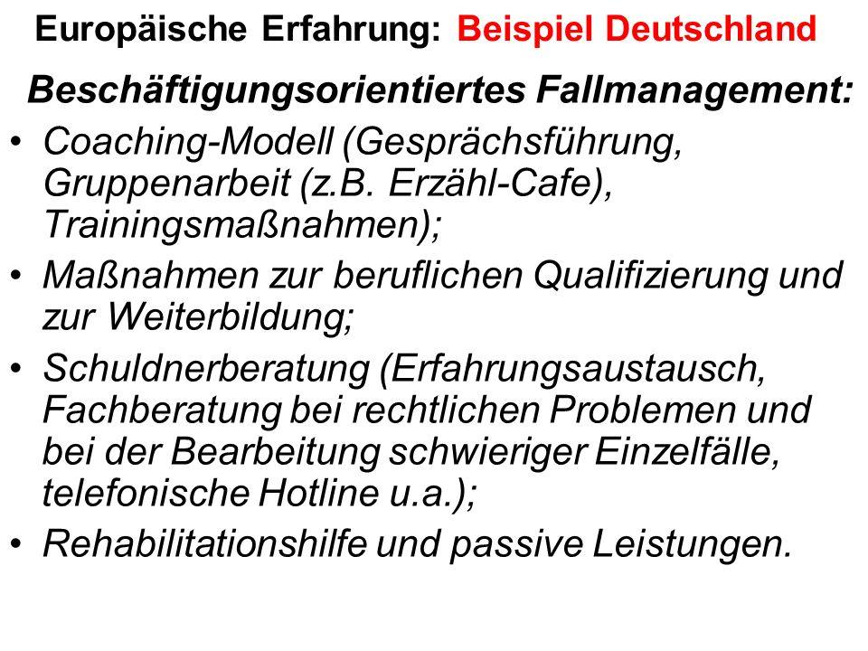 Europäische Erfahrung: Beispiel Deutschland Beschäftigungsorientiertes Fallmanagement: Coaching-Modell (Gesprächsführung, Gruppenarbeit (z.B.