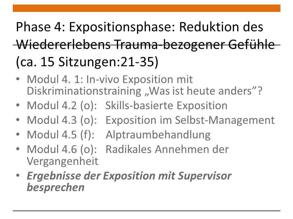Phase 4: Expositionsphase: Reduktion des Wiedererlebens Trauma-bezogener Gefühle (ca.